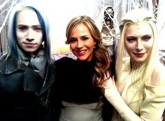 Jesse Rath, Julie Benz and Jaime Murray on the set of Defiance