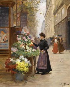 Victor-Gabriel Gilbert (French, 1847 - ~ Florist on a Paris boulevard; signed 'Victor Gilbert' (lower right); Gabriel, Pierre Auguste Cot, Costume Carnaval, Flowers For Sale, Art Ancien, Georges Seurat, European Paintings, Painting People, Victorian Art