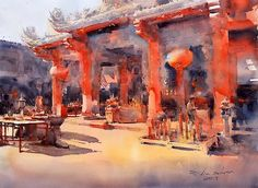 Direk Kingnok Watercolor artist   ·  Chinese temple in Bangkok, 56 x 76 cm. This painting for the World Watercolor Triennale 2015 in Seoul, South Korea