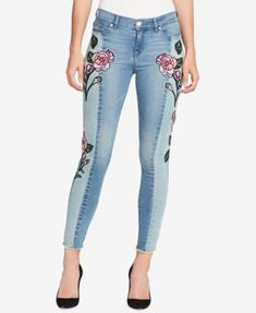 WILLIAM RAST Contrast-Wash Embroidered Skinny Jeans | macys.com