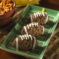 PB and chocolate rice krispie footballs! Wondering if it would be too sweet?????
