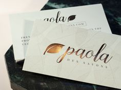 Business Card Design for Paola Soap Company. Printed on 14pt uncoated paper with copper stamped foil.