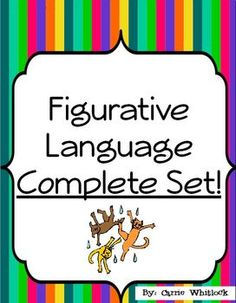 Figurative Language Complete Set!  This figurative language set comes with five of my figurative language products:  * Figurative Language Flipbook * Figurative Language Matching Cards (Concentration Game) * Figurative Language Mini-Posters * Figurative Language Review Sheet * Figurative Language Study Cards * Figurative Language Sentence Sort  Please see each of these individual listings for all of the details!  #FigurativeLanguage  #Bundle  #LanguageArts   #CarrieWhitlockTpT