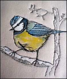 Oh so sweet chick chick chickadee! Machine stitched fab! Hand embroidery * embroidered * DIY inspiration * Quilt square * Altered Art * paper piecing * nursery art * bird and branches * vintage style *
