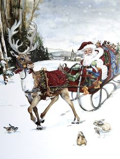 old fashioned Santa and reindeer Father Christmas, Santa Christmas, Christmas Pictures, Winter Christmas, Vintage Christmas, Christmas Cards, Illustration Noel, Illustrations, Santa Sleigh