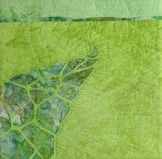 "'Winding Way' ©️ 2016 CarolynCollinsArt  12"" x 12""  Hand dyed fabric, batik Reverse applique"