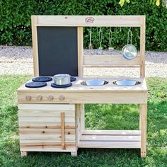 Buy Chad Valley Wooden Mud Kitchen at Argos. Thousands of products for same day delivery or fast store collection. Outdoor Play Kitchen, Diy Mud Kitchen, Mud Kitchen For Kids, Kids Outdoor Play, Backyard Play, Outdoor Toys, Kids Wooden Kitchen, Kitchen Modern, Outdoor Lounge