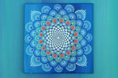 Painted Mandala flower on canvas-first snow original