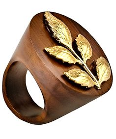 wooden ring & gold leaf = best ring ever