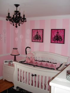 Paris themed nursery pink with black chandelier.. wouldn't use as a nursery but a theme for Mireyas room... She WILL have a chandelier!