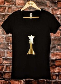 Glitter Queen Chess Piece/Ladies V-Neck by SporcarsiApparel
