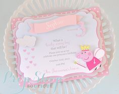 Peppa Pig Shabby Chic Birthday Invitations by propshopboutique