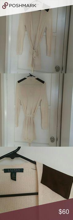 Ralph Lauren open front long sweater Unworn perfect condition wool sweater. Denim shoulder accent. Ralph Lauren Sweaters Cardigans
