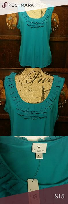 Worthington Top XL Teal Lovely teal color sleeveless top with ruffle detail in size XL by Worthington. Approximately 21 inches armpit to armpit and 25 inches shoulder to hem. NWT. Worthington Tops Blouses