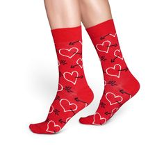 Happy Socks Heart & Arrow Pattern Sock in Red