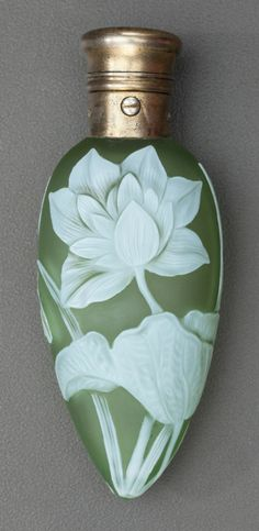 Art Glass:Webb, THOMAS WEBB GREEN OVERLAY GLASS FLORAL PERFUME VIAL WITH GORHAMSILVER MOUNTS. Circa 1890, Marks to silver: (lion-anchor-G),....