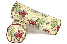 Foxhunting pillow cover Fox Hunt bolster cover Fox Hound