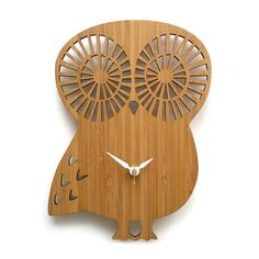 Modern Owl Wall Clock  Bamboo by decoylab on Etsy, $78.00