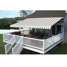 Aleko 10 X 8 Foot Grey And White Striped Retractable Outdoor Patio Awning Deck Sunshade