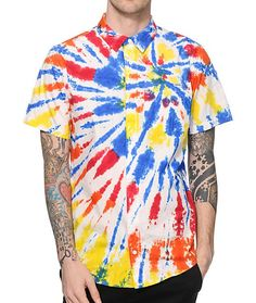 Snag some classic Woodstock style with a bright red, blue, orange, and yellow tie dye design on a white cotton colorway that sports a classic left chest pocket.