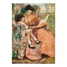 Het lezen met Moeder op een Regenachtig Poster van