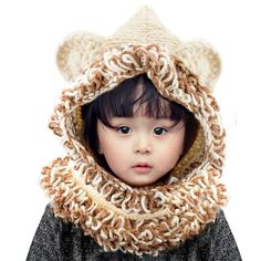 d08a3506ff1 Wua Baby Kids Warm Winter Hat Crochet Knitted Caps Hood Scarves Skull  Animal Beanies for Autumn Winter