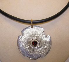 Sterling & 14K Garnet reticulated pendant