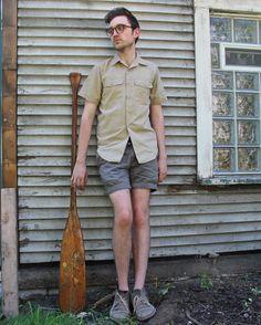 Vintage Sport SAFARI SHIRT Modern Military GRUNGE Mens Women Boyfriend Skinny Top Uniform Camp Pockets Scout short sleeved Button Up Shirt M by HarlowGirls on Etsy