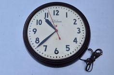 "Vintage Telechron RED DOT Company School Shop Wall Clock Electric Working 15.5""    eBay"