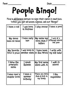 "People Bingo - Whole group activity - The kids have to find someone different to sign in each box and when they have a signature in every box they call out, ""Bingo!"" yESSSS people bingo, make those kids talk at each other First Day Activities, Classroom Activities, Team Bonding Activities, Leadership Activities, Back To School Activities Ks2, Office Team Building Activities, Group Activities For Teens, Party Games For Adults, Icebreaker Games For Kids"