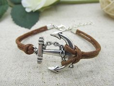 Silver Anchor cuff  bracelet made of Brown cotton rope & silver anchor Fashion Bangle  LB437