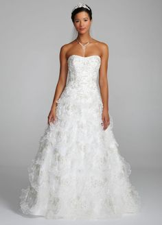 Simple Tulle Sample Beaded Wedding Dress with Tiered Scallop Skirt White