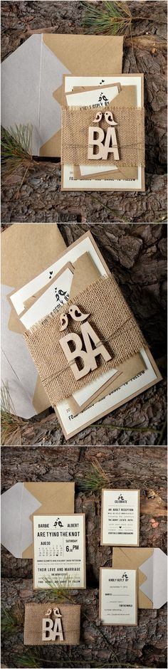 Rustic country burlap laser cut love birds wedding invitations @4LOVEPolkaDots