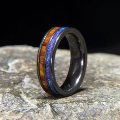BLUE AMETHYST LAB OPAL & DESERT IRONWOOD COMBO INLAY BLACK ZIRCONIUM BAND