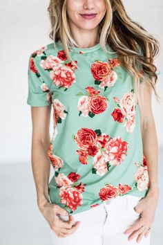 Oh wait, it's the cutest floral tee for Spring. You better get it in both colors. Looks like you're all set. Also available in Black! 94% Rayon, 6% Spandex See Sierra's sizing HERE, she is wearing siz
