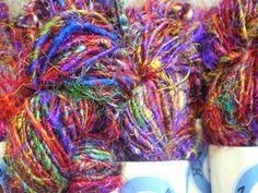 Sari+zijde+Strengen+van+multi+kleuren