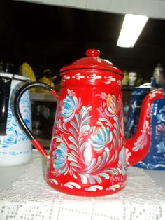 953 A Red Enamelware Vintage Coffee Pot With the by FolkArtByNancy, $75.00