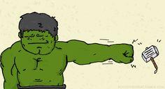 So cute! #TheAvengers #Thor #Hulk #Humor