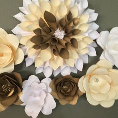 Paper flowers for wall decor by HucklePretties on Etsy