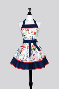 Ruffled Retro Womens Apron . Navy Blue and White Winking Owls Vintage Style Pin Up Flirty Kitchen Apron Ideal to Personalize or Monogram by CreativeChics on Etsy