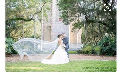 Photo from side of veil (not blowing in the wind) in front of greenery