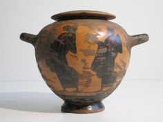VINTAGE VASO A DUE MANICI IN TERRACOTTA DIPINTA STILE ANTICA GRECIA in Arte e antiquariato, Porcellana e ceramica, Piastrelle e mattonelle | eBay
