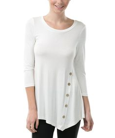 Look what I found on #zulily! Ivory Side-Button Tunic #zulilyfinds