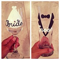 Bride and Groom glass duo hand painted wine / beer glass by SassySipsByMarissa on Etsy