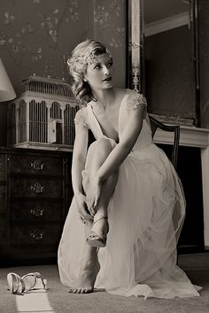 Glamorous vintage bride- dress, headpiece and cuff by Amanda Caroline Couture