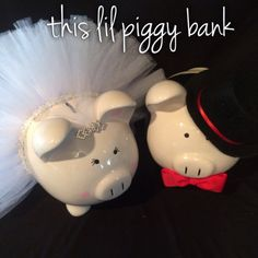 Bride and Groom Large Banks by Thislilpiggybank on Etsy