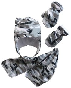 611286e5885 N Ice Caps Boys Soft Sherpa Lined Hat Scarf Mitten Micro fleece Set (18-36  months