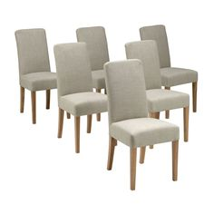 Beautiful Light Oak Set of 6 Grey Linen Dining Chairs. Free UK Delivery on all dining chair set of 6 orders. Linen Dining Chairs, Oak Dining Table, Dining Room Furniture, Wooden Furniture, Grey Chair, Light Oak, My Living Room, Real Wood, Side Chairs