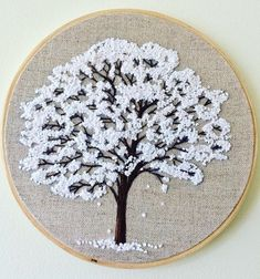 Embroidery hoop Cherry Blossoms, hand embroidered hand made one of a kind pink b.Hoop art Indian Jewellery machine embroidery linen with - Salvabranihow to make french knots embroideryhand embroidery stitches step by stepCherry tree blossom for Angie Hand Embroidery Projects, Simple Embroidery, Learn Embroidery, Hand Embroidery Stitches, Embroidery Hoop Art, Hand Embroidery Designs, Embroidery Techniques, Cross Stitch Embroidery, Embroidery Sampler
