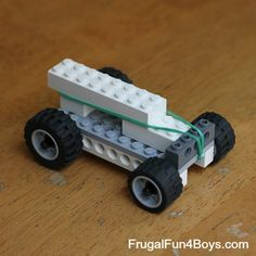 "Rubber Band Powered Lego Car x2 (it annoys me to no end that this comes from a ""Frugal Fun for BOYS"" page, apologies for that)."